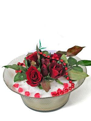 Karşıyaka internetten çiçek siparişi  EN ÇOK Sevenlere 7 adet kirmizi gül mika yada cam tanzim