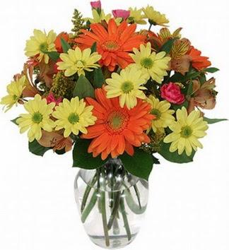 Karşıyaka anneler günü çiçek yolla  vazo içerisinde karışık mevsim çiçekleri
