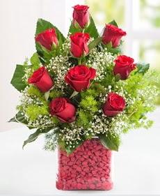 Cam içerisinde 9 adet kırmızı gül  Karşıyaka çiçek siparişi sitesi