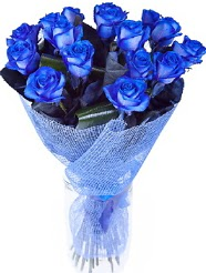 9 adet mavi gülden buket çiçeği  Karşıyaka ucuz çiçek gönder