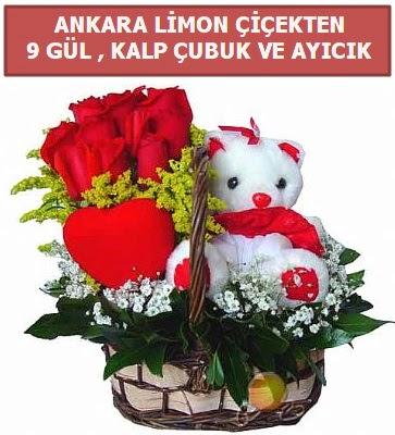 Kalp çubuk sepette 9 gül ve ayıcık  Karşıyaka çiçek gönderme