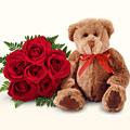 Karşıyaka çiçek siparişi vermek  5 gül ve orta boy ayicik