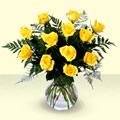 Karşıyaka çiçek siparişi sitesi  9 adet sari gül mika ve cam vazoda
