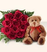 9 adet gül ve oyuncak  Karşıyaka çiçek satışı