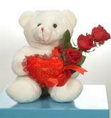 3 adetgül ve oyuncak   Karşıyaka yurtiçi ve yurtdışı çiçek siparişi