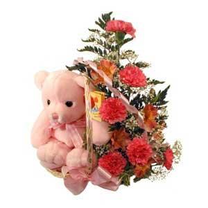 sepette karanfiller ve ayicik   Karşıyaka çiçek satışı