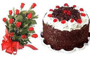 Karşıyaka çiçek siparişi sitesi  12 ADET KIRMIZI GÜL BUKET VE YASPASTA