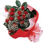 Karşıyaka çiçek siparişi sitesi  KIRMIZI AMBALAJ BUKETINDE 12 ADET GÜL