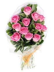 Karşıyaka güvenli kaliteli hızlı çiçek  12 li pembe gül buketi.