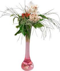 Karşıyaka çiçek mağazası , çiçekçi adresleri  Filayagi cam vazo içerisinde orkide ve güllerle ha