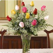 Karşıyaka çiçekçiler  renkli gül 11 adet çiçekçi den cam yada mika vazo tanzimi