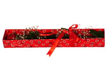 Karşıyaka çiçek gönderme  kutu içerisinde 1 adet kirmizi gül