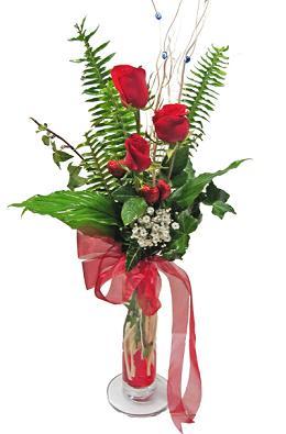 Çiçek gönderin cam vazoda 3 gül çiçekleri  Karşıyaka çiçekçi mağazası