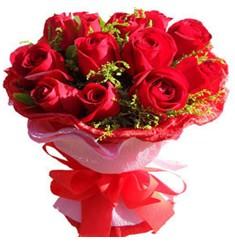 9 adet kirmizi güllerden kipkirmizi buket  Karşıyaka internetten çiçek satışı