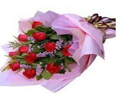 11 adet kirmizi güllerden görsel buket  Karşıyaka İnternetten çiçek siparişi