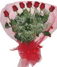 7 adet kipkirmizi gülden görsel buket  Karşıyaka çiçek servisi , çiçekçi adresleri