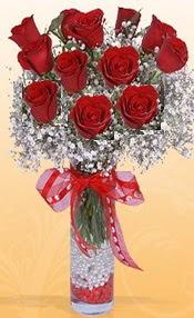 10 adet kirmizi gülden vazo tanzimi  Karşıyaka çiçekçi mağazası