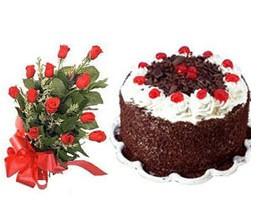 Karşıyaka çiçek , çiçekçi , çiçekçilik  10 adet kirmizi gül buketi ve yaspasta