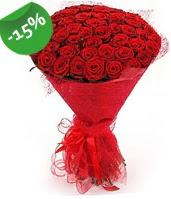 51 adet kırmızı gül buketi özel hissedenlere  Karşıyaka çiçekçi mağazası
