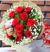 7 adet kırmızı gül 2 adet 10 cm ayı buketi  Karşıyaka internetten çiçek siparişi