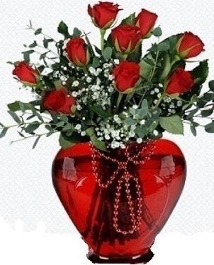 Kalp cam mika içinde 9 adet kırmızı gül  Karşıyaka çiçek siparişi sitesi