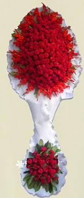 Çift katlı kıpkırmızı düğün açılış çiçeği  Karşıyaka 14 şubat sevgililer günü çiçek
