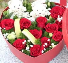 2 adet ayıcık 9 kırmızı gül kalp içerisinde  Karşıyaka çiçek siparişi sitesi