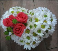 3 adet kırmızı gül mika kalptte papatyalar  Karşıyaka çiçek siparişi sitesi