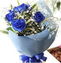 5 adet mavi gülden buket çiçeği  Karşıyaka çiçekçi telefonları