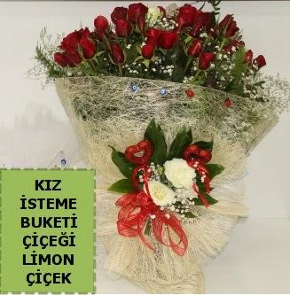 27 adet kırmızı gülden kız isteme buketi  Karşıyaka çiçekçi telefonları