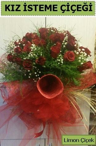 41 adet kırmızı gülden kız isteme buketi  Karşıyaka çiçekçi telefonları