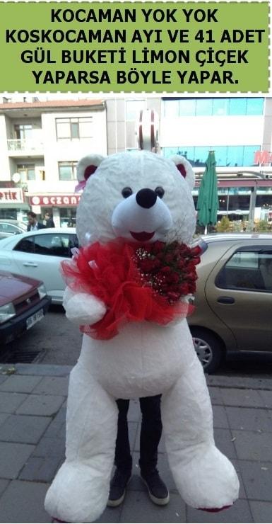 Koskocaman beyaz ayı ve 25 adet gül  Karşıyaka çiçekçi mağazası