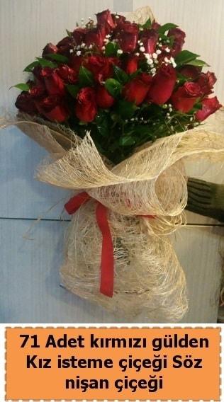 71 adet kırmızı gül söz nişan çiçeği  Karşıyaka çiçekçi telefonları
