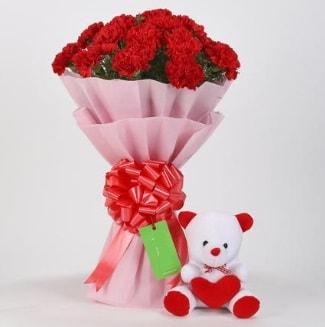 19 kırmızı karanfil buketi 15 cm ayıcık  Karşıyaka internetten çiçek siparişi