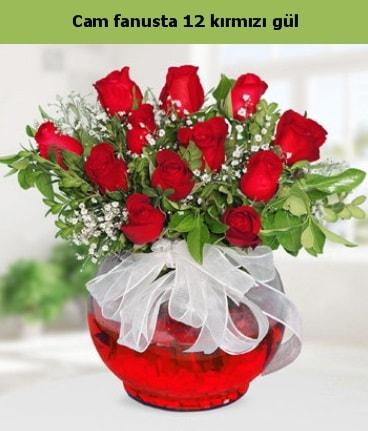 Cam içerisinde 12 adet kırmızı gül  Karşıyaka çiçek siparişi sitesi