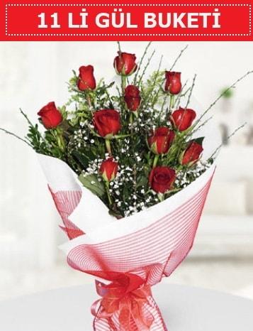 11 adet kırmızı gül buketi Aşk budur  Karşıyaka İnternetten çiçek siparişi