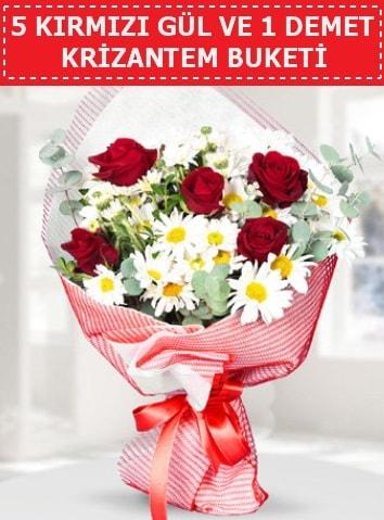 5 adet kırmızı gül ve krizantem buketi  Karşıyaka çiçekçi telefonları