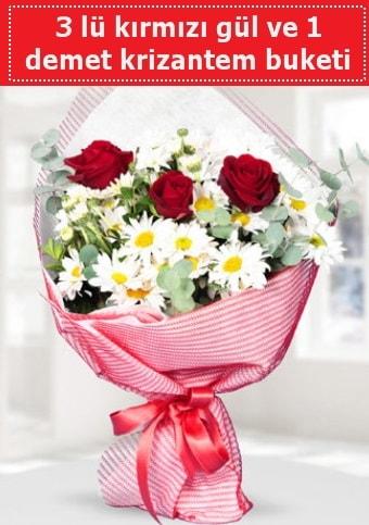 3 adet kırmızı gül ve krizantem buketi  Karşıyaka İnternetten çiçek siparişi