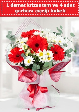 Krizantem ve Gerbera Buketi  Karşıyaka çiçekçi mağazası