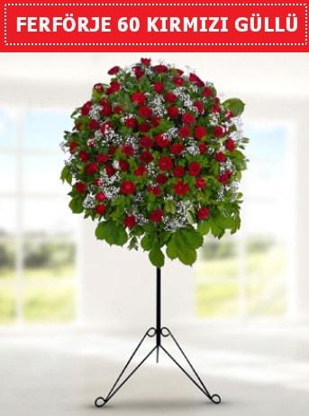 60 Adet kırmızı gülden ferförje  Karşıyaka çiçek , çiçekçi , çiçekçilik
