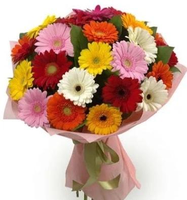 Karışık büyük boy gerbera çiçek buketi  Karşıyaka çiçekçi telefonları