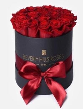 Siyah kutuda 25 adet kırmızı gül tanzimi  Karşıyaka çiçek yolla , çiçek gönder , çiçekçi